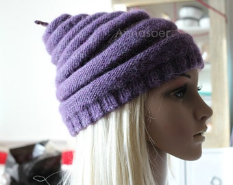 Very cosy, soft and warm hat for man or woman handmade of wool good quality materials in shades of purple! OOAK