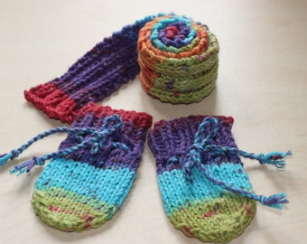 Dolls mittens & scarf knitted for dolls hands with beautiful rainbow yarn :)