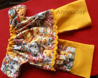 Dolls clothes Pants with top Two piece set YELLOW for (Waldorf) doll of aprox 15 or 15.7 inch Pure cotton