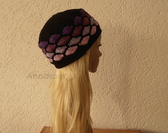Crocheted original hat/beanie handmade with 100 % cotton yarn for someone who wants to wear something unique