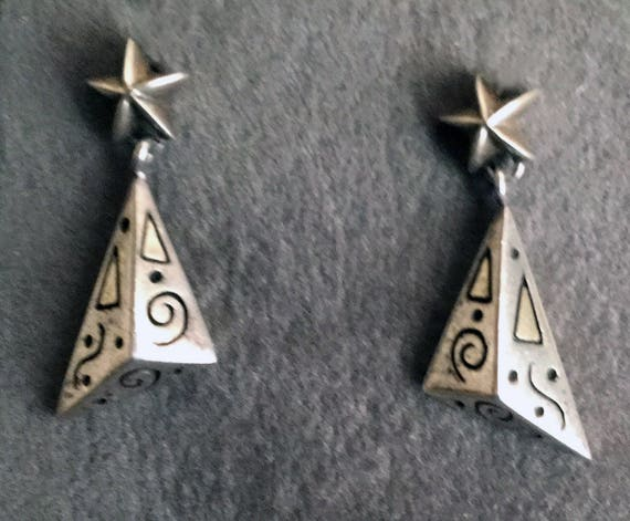 Sterling Silver Modern Design Dangle Earrings with Star Posts