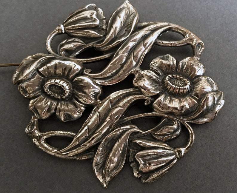 Brooch Substantial Size Floral Repouss\u00e9 Pin in Sterling Silver
