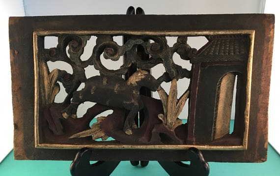 Antique Indonesian Wall Art Hand-Carved & Painted Wood