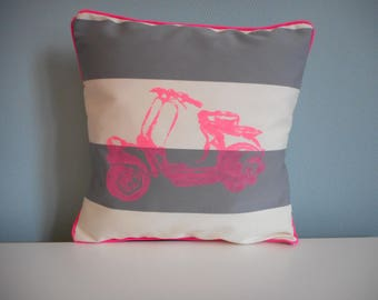 Pillow and its fabric cover gray and Vespa print pink neon 30 x 30