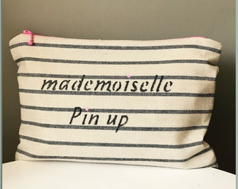 Black white striped cotton pouch.