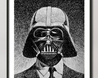 Darth Vader print, Star wars art, Darth Vader portrait poster, black ink drawing,  Giclee Fine Art Poster Print