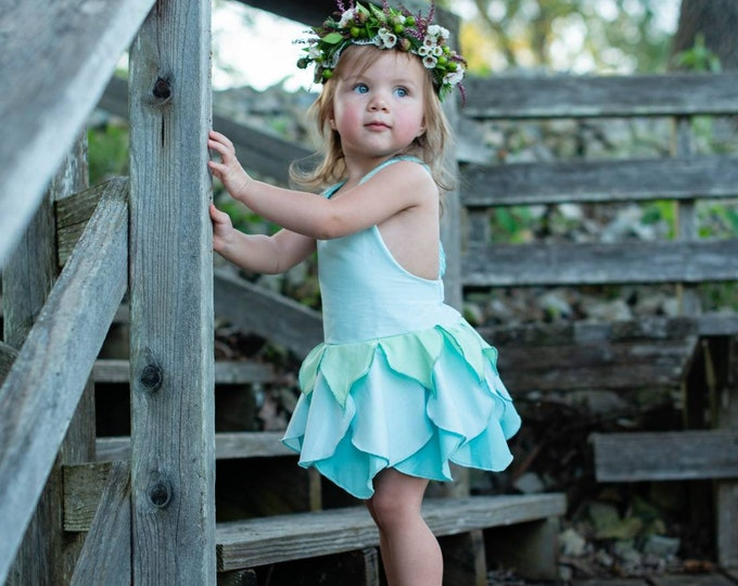 Featured listing image: Baby Blue Fairy Dress, Girls Sizes 1-10, Made to Order, Handmade in the USA