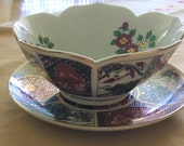 2 Piece Antique Gold IMARI, Hand Painted, Fine Ceramic, Bowl Plate. Made Expressly Produce For Heritage Mint. LTDLACA JAPAN
