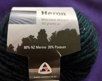 Zealana Darck Green Worsted Wool  Knitting And Crocheting Yarn.