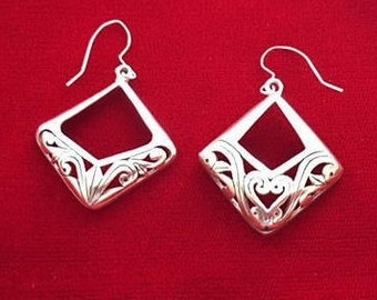 Vintage Large  STERLING SILVER Square  Earrings