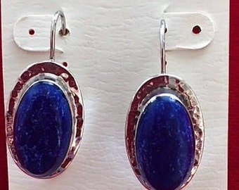 "Vintage STERLING SILVER Earrings With Lapis Lazuli  Purple Oval 1.5"" Natural Stone"