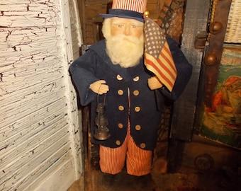 Patriotic Uncle Sam Doll, Fourth of July, Patriotic fabric, Handmade