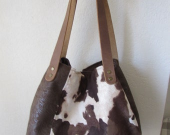 cac2dd412 Cowhide Print Cube Tote Bag with Faux Leather Canvas Fabric Handmade Purse  - with Leather Straps - Ready to Ship