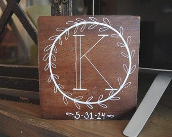 Monogram Hand Painted Wood Sign
