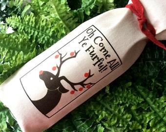 christmas bag reindeer gift bag holiday gift funny label oh come all ye furful christmas wine christmas gift wrap rudolph pet