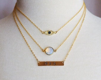 Layered - gold filled 3 strand necklace