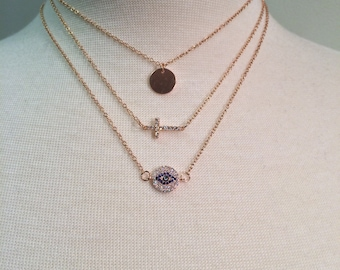 Faith Layered - 3 rose gold filled necklaces