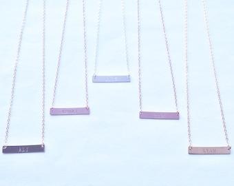 Set The Bar - hand stamped bar necklace in gold filled, rose gold filled or sterling silver