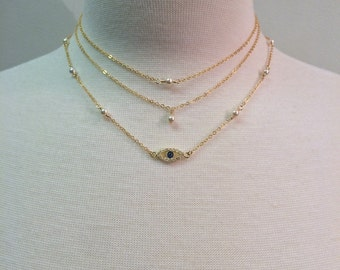 Dainty Layered - gold filled, rose gold filled or sterling silver necklaces with evil eye