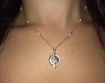 Dainty - gold filled or sterling silver necklace with cross & Mary