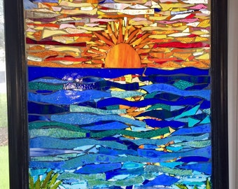 Stained Glass Sheet Blue Van Gogh Mosaic