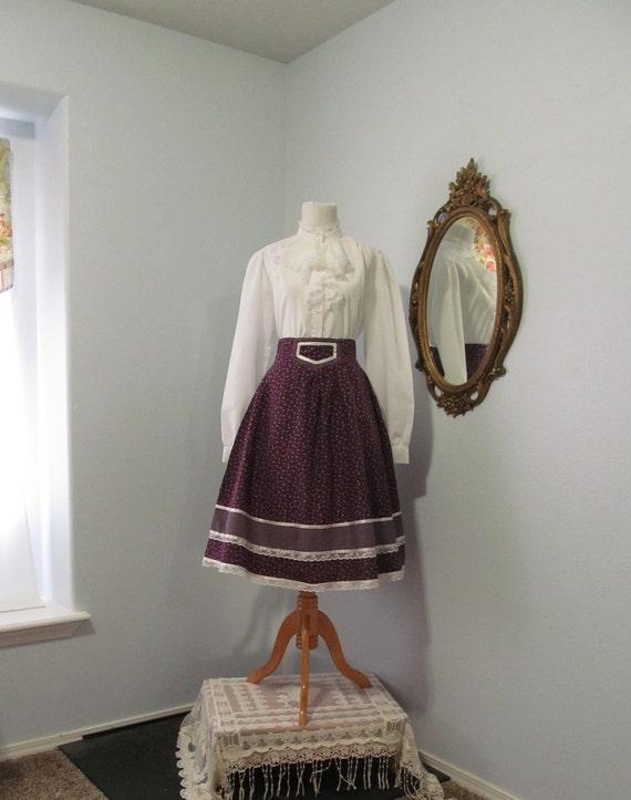 1970s Vintage Jessica's Gunnies Prairie Skirt Burg