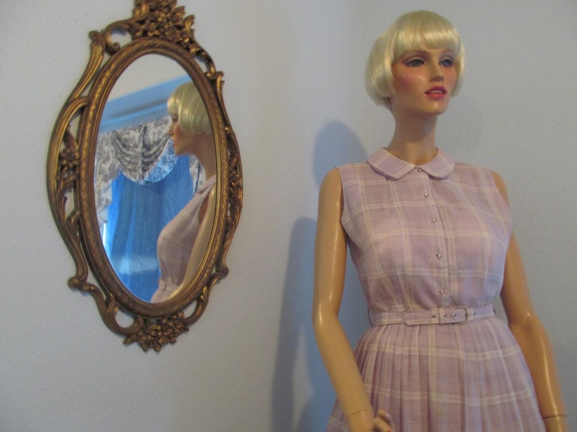 1960's Lavender and White Plaid Sleeveless Dress Full