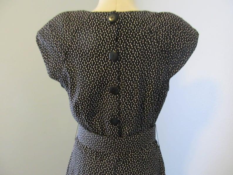 Vintage 1980s  Black And White Polka Dot Dress Sweetheart Neckline Hearts Label Size 9-10
