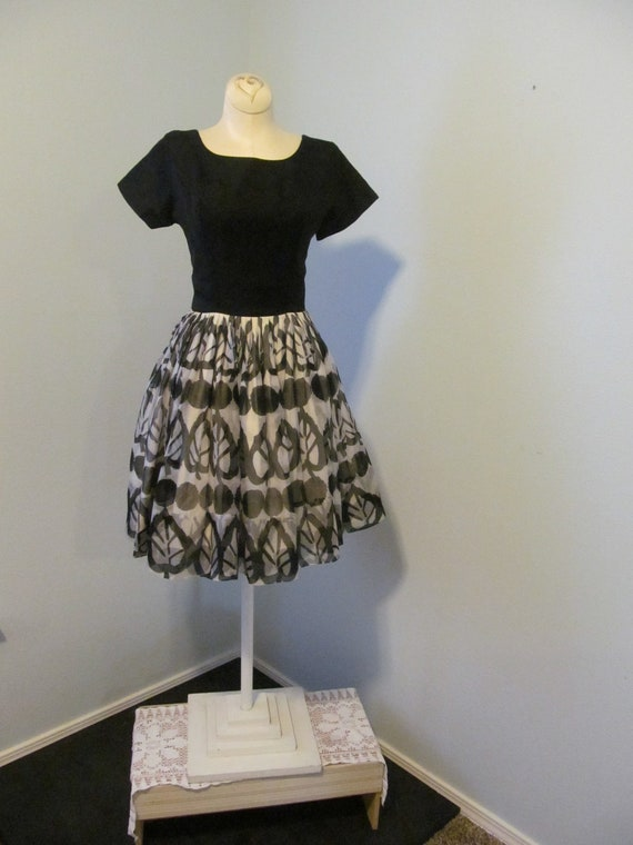 1950s 1960s Black And White Dress By Gigi Young Si