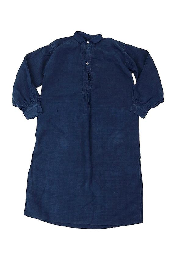Antique French linen Indigo Smock shirt dress