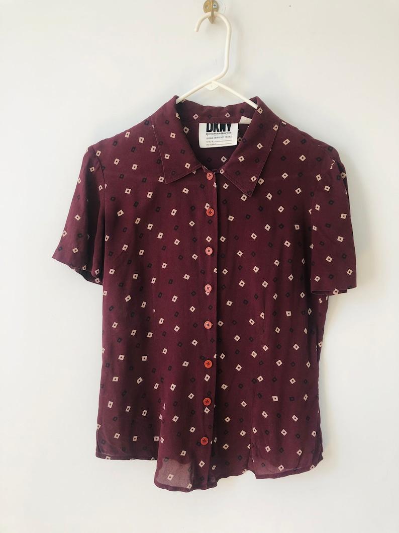 Vintage DKNY New York dark purple silk patterned button up shirt xs-s