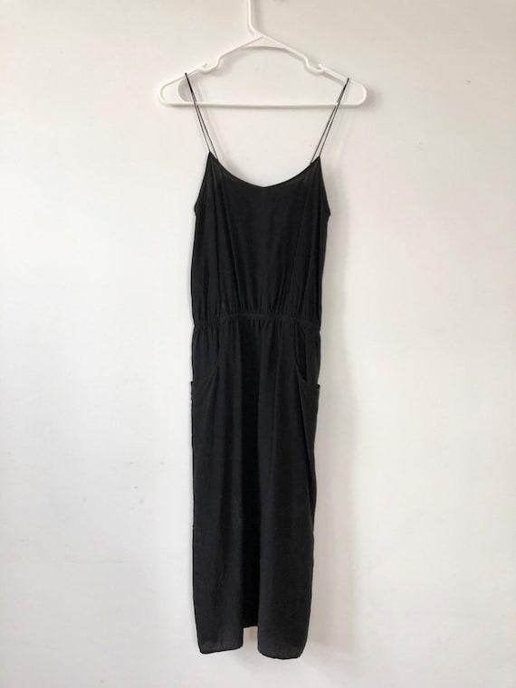 Minimalism black silk slip dress |xs-s
