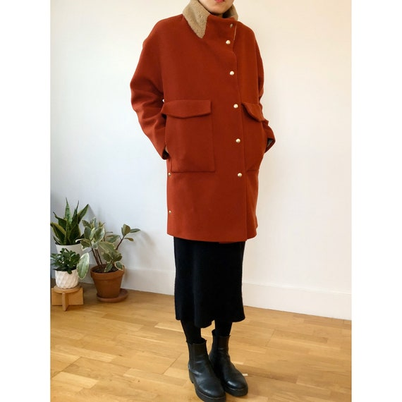 Nanushka Brick Red Wool coat | s