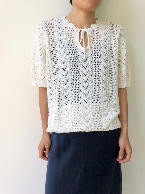 Vintage cream white cotton crochet blouse