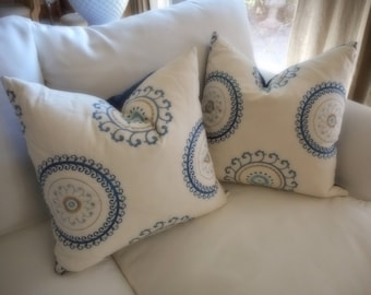Circular motion motif, blue and off white pillow cover, reversible.