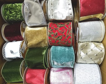 30 rolls of sample ribbons from Farris Silk Showroom