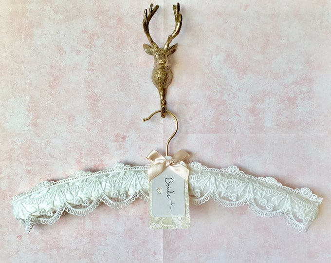 Ivory Embroidered Lace Wedding Hanger with Personalised Label