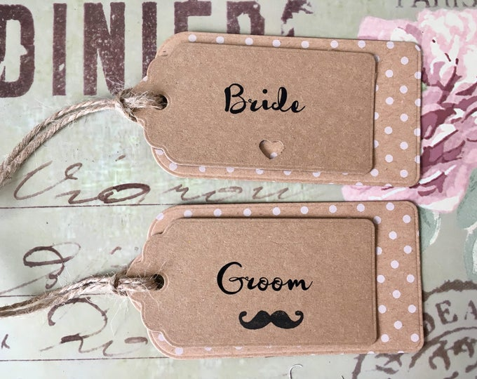 Polka Dot Kraft Card Wedding Label