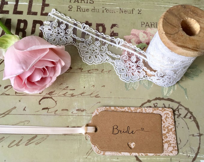 Floral Lace Kraft Card Wedding Label