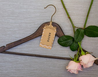 Wedding Hanger with Personalised Chevron Kraft Card Label