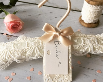 Ivory Embridered Lace Wedding Hanger with Luxury Personalised Label