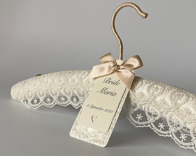 Ivory Lace Bridal Hanger with Personalised Label