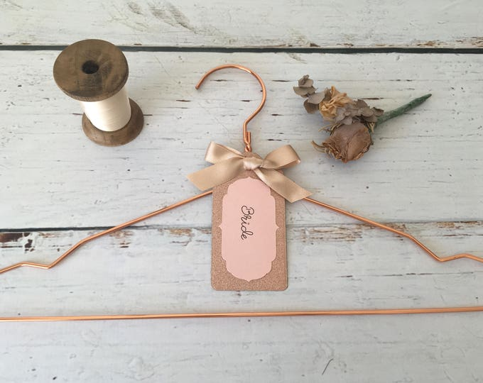 Rose Gold Bridal Hanger with Personalized Label