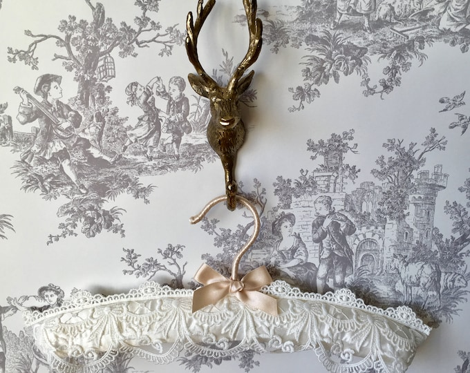 Ivory Embroidered Lace Flower Girl Hanger