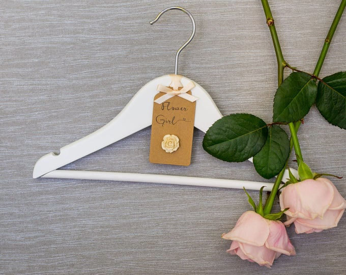 Personalised Flower Girl Hanger with Embroidered Lace Label