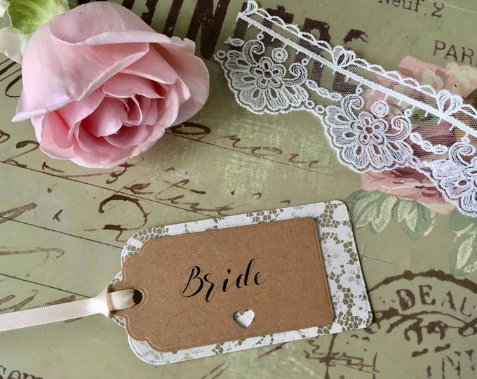 Cream Chantilly Lace Kraft Card Wedding Label