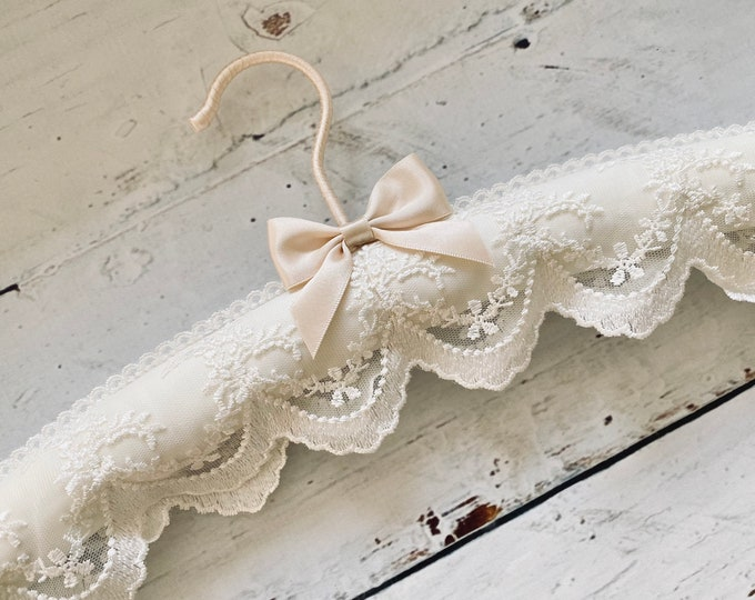 Ivory Satin and Lace Wedding Dress Hanger