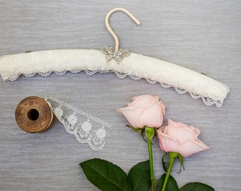 Ivory Lace Wedding Hanger with Crystal Butterfly Embellishment