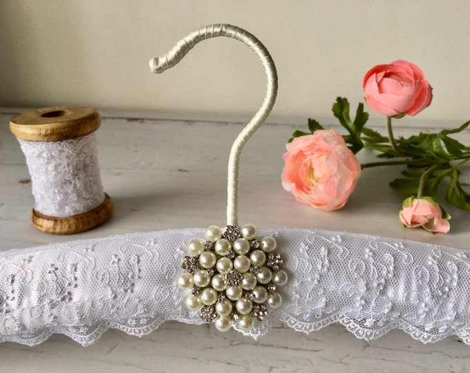White Lace Wedding Hanger with Embellishment