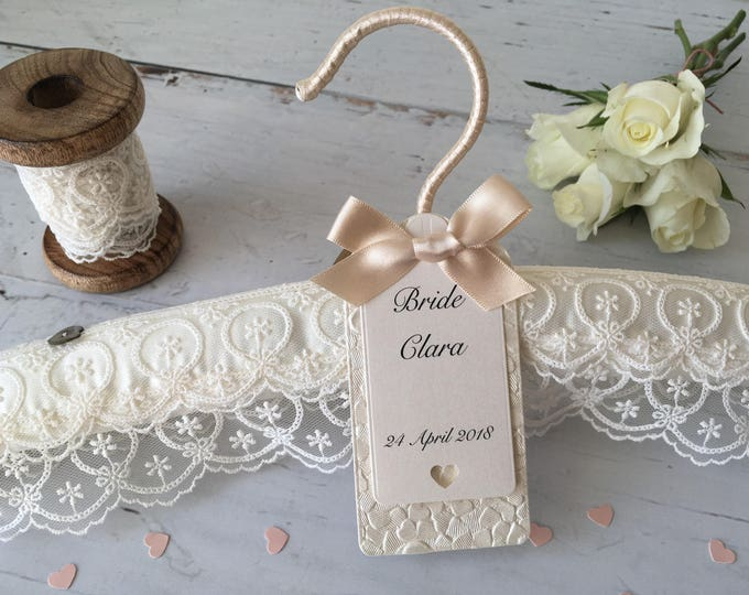 Luxury Ivory Lace Wedding Hanger with Handmade Personalised Label